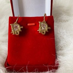 Dior drop earring gold plated with Crystal